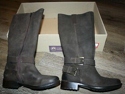 Clarks Women/'s Plaza Steer Brown Suede High Boots Style#26101970