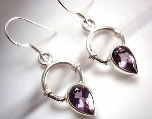 Amethyst Squares with Rope Style Accents 925 Sterling Silver Dangle Earrings