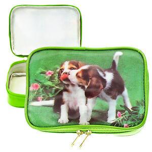 Details about Green Purse Make-Up Bag Beagle Puppy Dogs Playing 3D  Lenticular #VSP-002-PRADO#