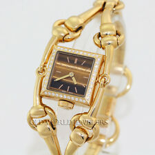 Gucci Lady Signoria Series 116 Diamond Dress Watch 18K Gold Tiger's Eye Dial Box