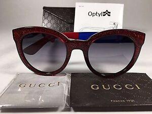 96465502b5e Authentic Gucci GG3810 S Sunglasses Cat Eye Blue Red Glitter Gray ...