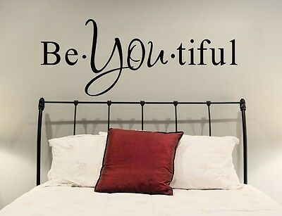 Vinyl wall Decal Quote Be You Tiful, Inspirational Text Beautiful Decor Sticker