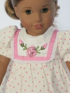 Doll-Clothes-For-18-Inch-American-Girl-Pink-amp-White-Floral-Easter-Dress