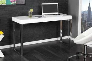 Petit bureau design contemporain meuble ordinateur blanc laqué