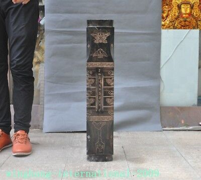 """Other Chinese Antiques Modest 28""""china Liangzhu Culture Old Jade Carved Ox Head Text Pattern Jade Cong Yu-cong At Any Cost China"""