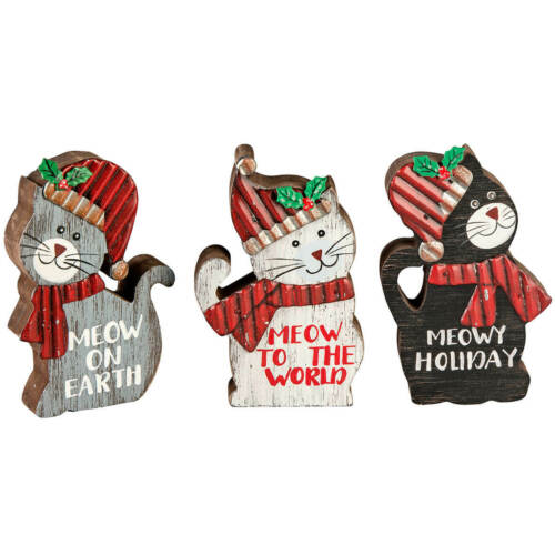 Set of 3 Details about  /Christmas Cat Wood Table Sitters