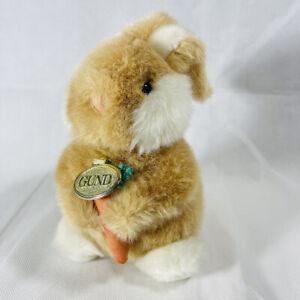 Vintage 1990 GUND BROWN BUNNY RABBIT HOLDING CARROT Stuffed Animal PLUSH TOY