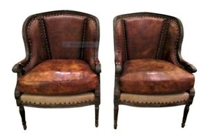 Image Is Loading Pair Leather Chairs Nailheads Wood Frame Clic Vintage