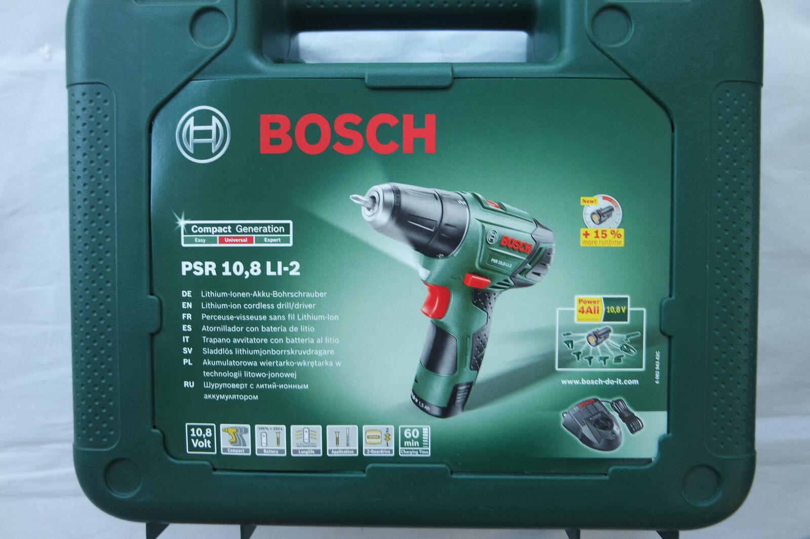 BOSCH Akku-Bohrschrauber PSR 10,8 LI-2 im Koffer