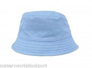 a8c651c8bc236 100% cotton baby babies summer sun bucket hat boys girls white blue ...