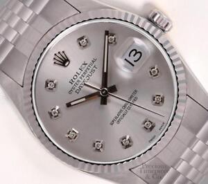 Rolex-Datejust-S-Steel-36mm-Quickset-Watch-Silver-Diamond-Dial-18k-Fluted-Bezel