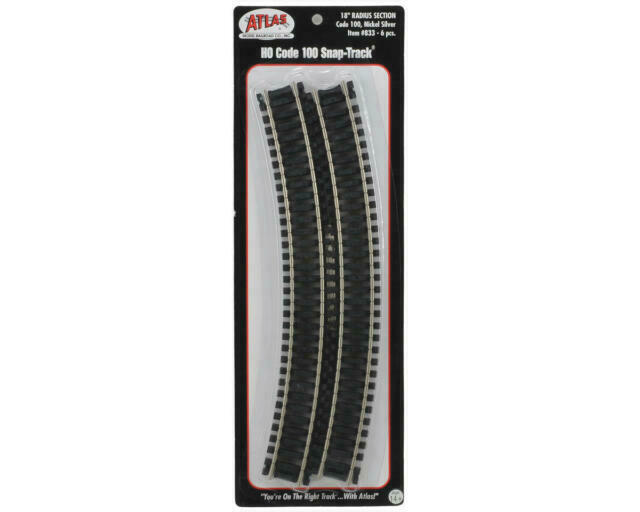 HO Scale Model Railroad Trains Layout Code 100 Atlas 15 Radius Curve 6 Pcs 831