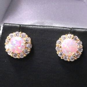 2-Ct-Round-Pink-Fire-Australian-Opal-Earrings-14K-Yellow-Gold