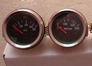 "Black Face Chrome 2/"" //52mm  Electrical Oil Pressure Gauge Temperature  Gauge"
