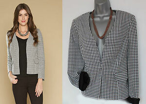 UK-12-MONSOON-Black-White-Dolly-Dogtooth-Print-Jacket-Blazer-EU40-Formal-Casual