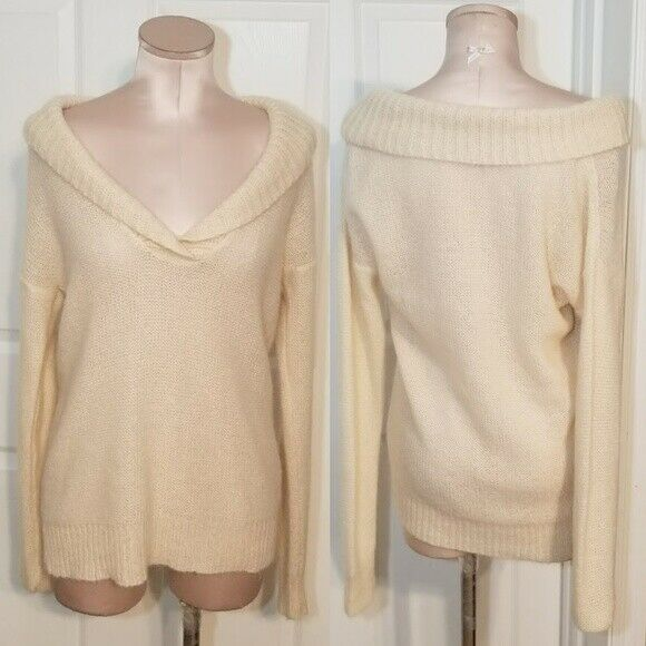 J. Crew Oversized Ivory Sweater Mohair Wool Blend Sz M