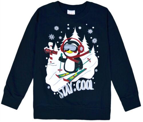Girls Boys Christmas Jumper Kids Xmas Cotton Sweatshirt Top New Age 7-13 Years
