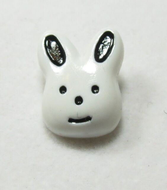 """White Bunny Novelty Buttons Sewing Crafting 0.75"""" 3/4"""" crafting, quilting"""