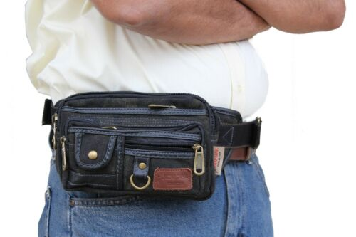 Brown Canvas Fanny Pack Army Men Hiking Waist Belt Belly Bag 106 Medium Size