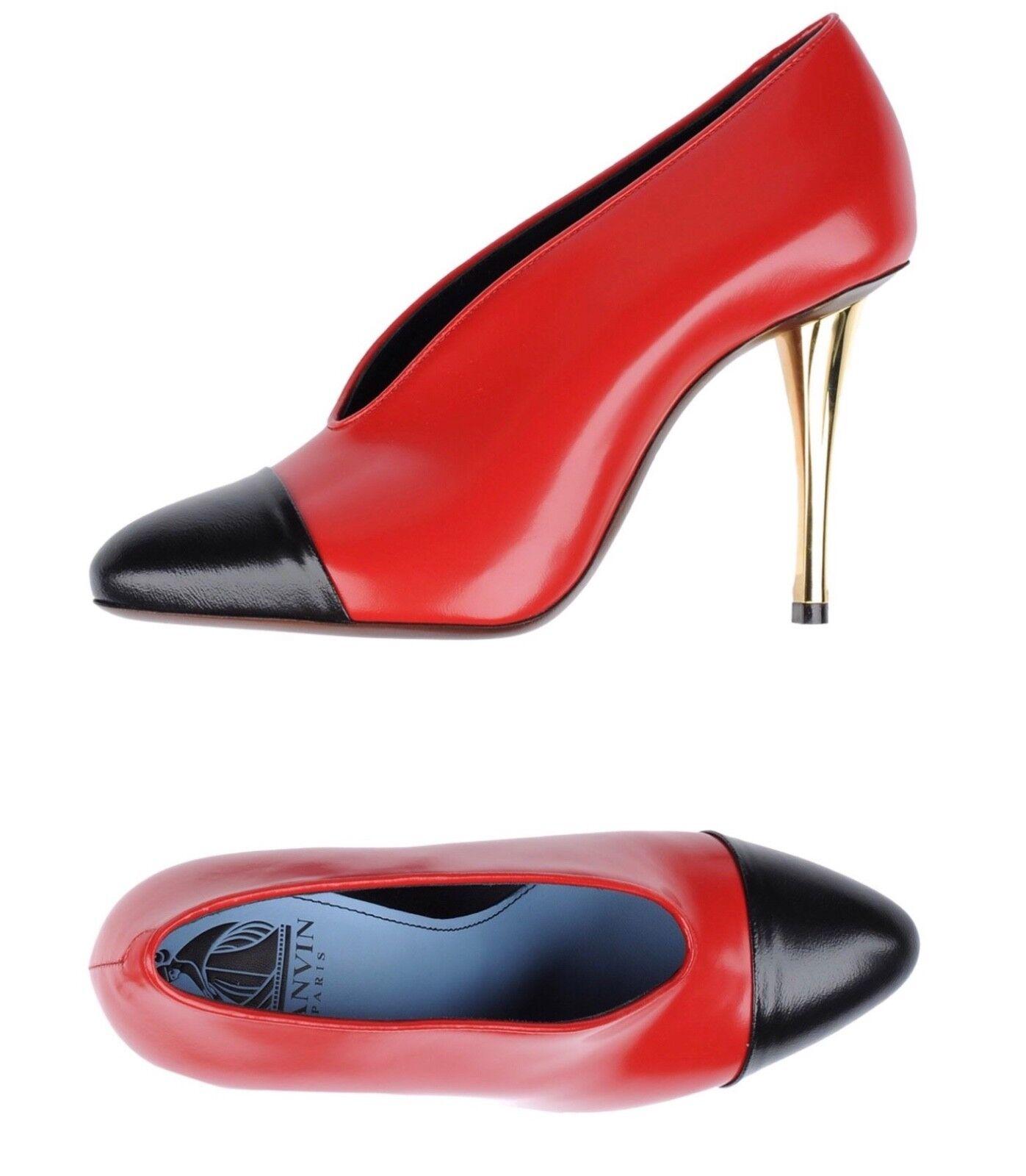 NIB Lanvin Leather Cap-Toe 105mm V-Neck Red Black Pumps Heels shoes 40EU  875