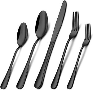40-Piece Black Silverware Set, Stainless Steel Flatware Set for 8