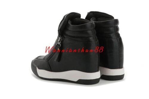 Womens High Top Trainer Rhinestones Wedge Hidden Heel Sneaker Sport Tennis Shoes