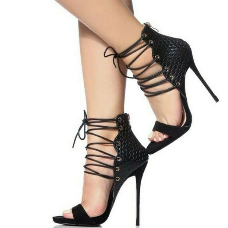 Occident Women Leather Open Toe Lace Up High Heel Ankle Strap Sandals Boots shoes