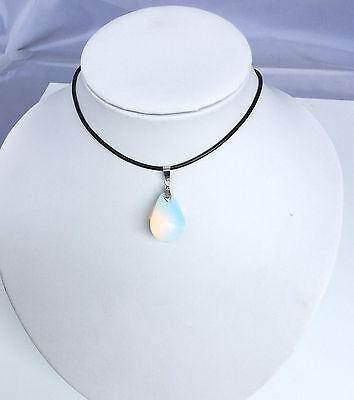 "Opalite Opal Crystal Quartz Genuine Leather Necklace Teardrop Pendant 18"" best"