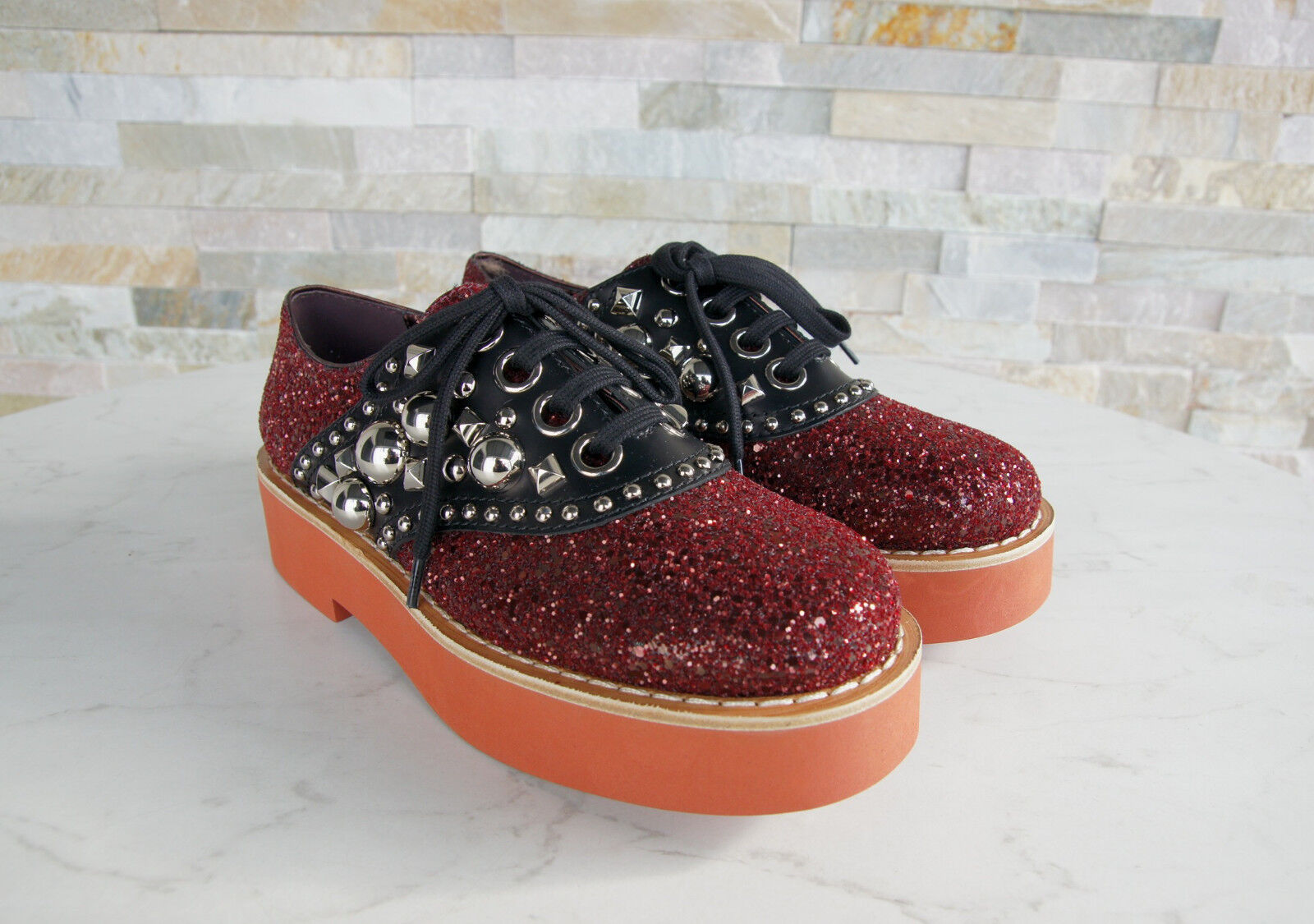 Miu Miu Size 38 Low shoes Lace Lace Lace up shoes Glitter Studs Red New Previously 2511a9