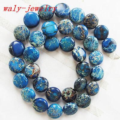 Q-171 Beautiful 1strand Blue Sea Sediment Jasper loose bead 15.5 inch 12x5mm