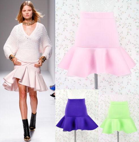 ♡IT♡ Neoprene Scuba Flounced Fit Flare Trumpet Peplum Ruffle Skirt Mini Short
