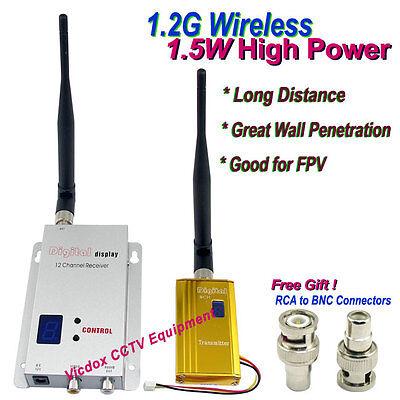1.2G 1.5W High Power Long Range Wireless AV Transmitter Receiver Kit CCTV Camera