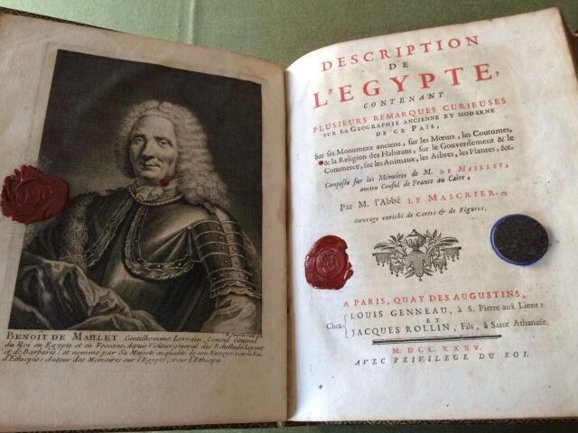 DESCRIPTION  DE  L EGYPTE  RARE  EDITION  ORIGINALE  DE  1735  AVEC  PLANCHES