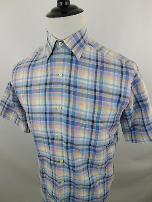 Nwt Austin Reed London Men S Short Sleeve Casual Plaid Shirt Size Small Linen Ebay