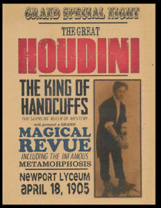 Harry-Houdini-1905-Poster-Reprint-On-Genuine-100-Year-Old-Paper-P005