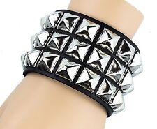 Silver Pyramid Stud Leather Punk Goth Club Rockabilly Bracelet