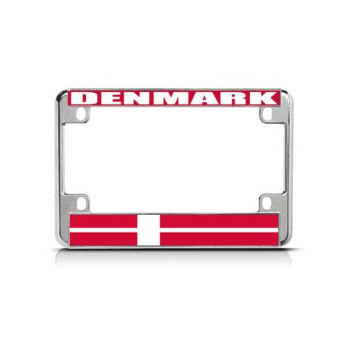 DENMARK Flag Metal Motorcycle Bike License Plate Frame Tag Border