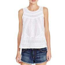 Aqua 6259 Womens White Embroidered Open Back Cotton Tank Top S BHFO