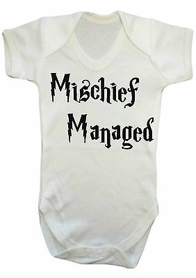 HARRY POTTER MISCHIEF MANAGED BODYSUIT VEST,BABYGROW,ROMPER,GIFT,BABY CLOTHES