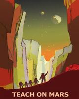 Astronaut Teach Mars Moon Nasa Spaceship Sci-fi 16x20 Vintage Poster Free S/h