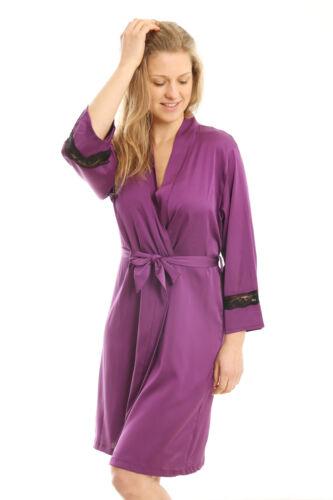Ladies Satin Robes Gown Sleepwear Loungewear Womens Nightwear Bathrobe Dress