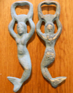 6 Cast Iron SEAHORSE Beer Bottle openers Sea Blue Nautical Soda opener Kroeg