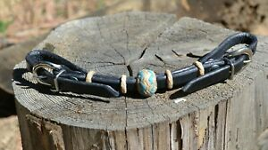 Jose-Ortiz-Black-Leather-Nat-Turquoise-Rawhide-Knot-Double-Buckle-Curb-Strap