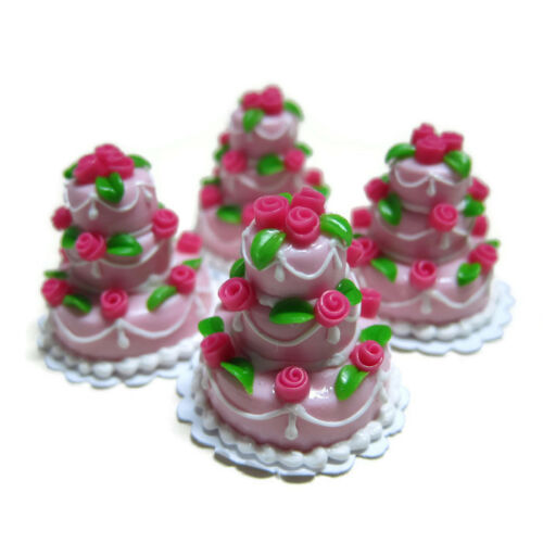 1X Tiny Pink Wedding Cake Rose Top Dollhouse Miniatures Food Supply Deco