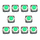 10 X LED Tactile Push Button Switch Momentary Tact 12X12 4pin Round Cap Green