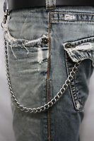 Men Silver Metal Wallet Chains Thick Link Keychain Jeans Classic Biker Basic