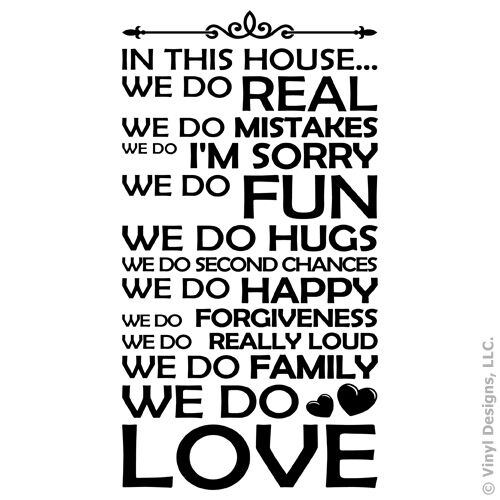 IN THIS HOUSE WE DO FAMILY/LOVE QUOTE VINYL WALL DECAL STICKER ART -HOME DECOR