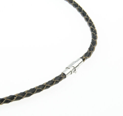 """3mm 14/""""-30/"""" Black Genuine Leather Cord Mens Necklace Twist Chain Stainless steel"""