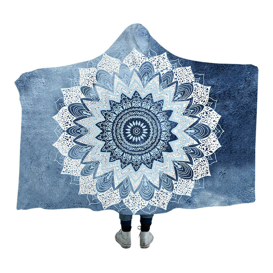 bluee Green Mandala Lotus Kids Adults Sherpa Fleece Fur Hooded Blanket Throw