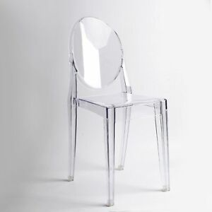 meet 0e352 8bcb4 Details about Clear Dining Chairs Set Dressing Ghost Style Retro Kitchen  Office Chair